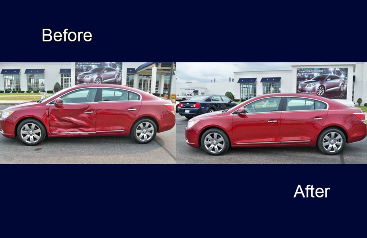 Red Car Body Damage Repaired