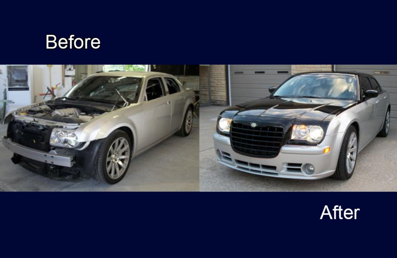 white car auto body painting services